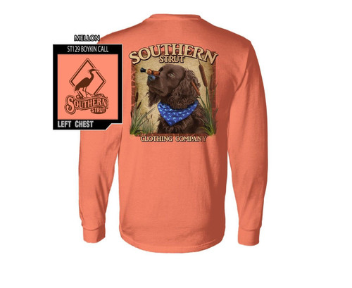 Boykin Spaniel Duck Call on Nose Trick Cotton Long Sleeve T Shirt Southern Strut
