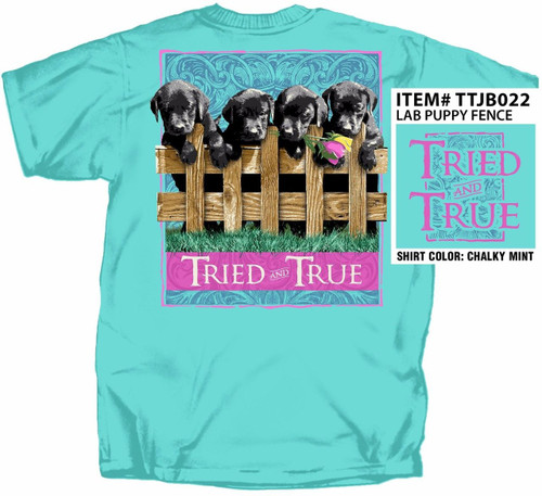 Lab Puppies On Fence Tried & True Cotton Short Sleeve T Shirt