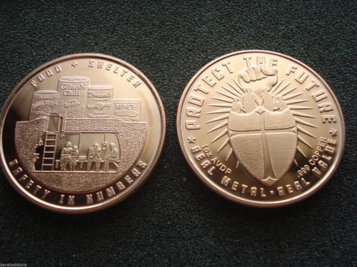 Food and Shelter Copper Round 1 oz .999 Fine
