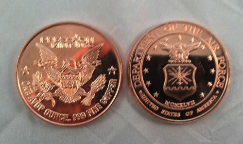Air Force Copper Round 1 oz .999 Fine