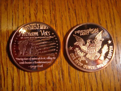 Vietnam Vets Copper Round 1 oz .999 Fine