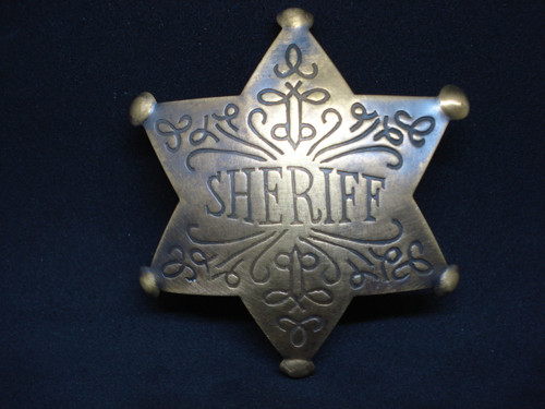 Sheriff Solid Brass Western Badge