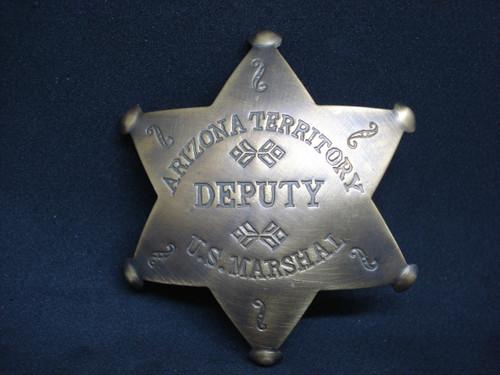 Arizona Territory Deputy U.S. Marshal Solid Brass Western Badge
