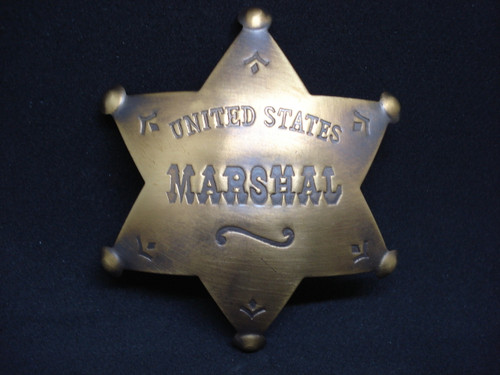 United States Marshal Solid Brass Western Badge