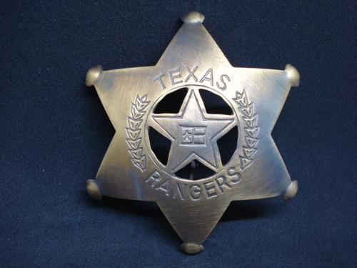 Texas Ranger Solid Brass Western Badge