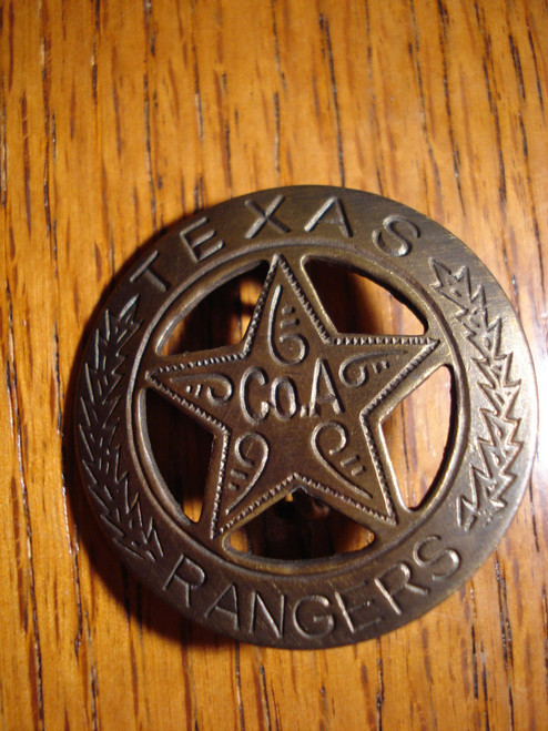 Texas Ranger Co A Solid Brass Western Badge