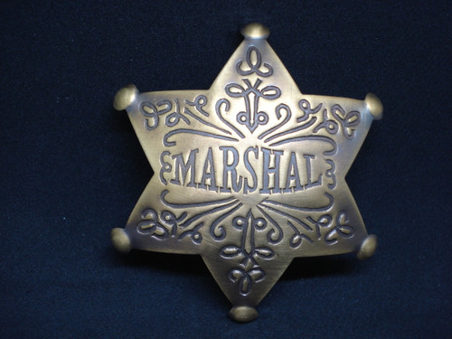 Marshal Solid Brass Western Badge