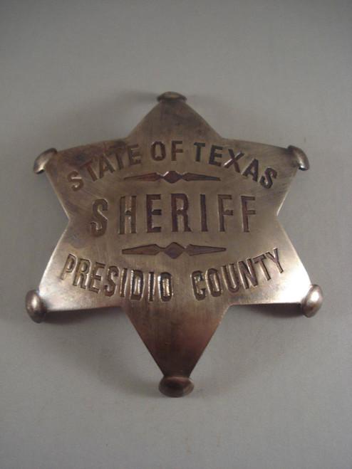 Texas Sheriff Presidio County Western Badge