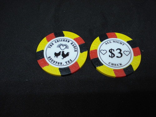The Chicken Ranch Houston Texas Brothel Collectors Poker Chip Cathouse Whore House Yellow