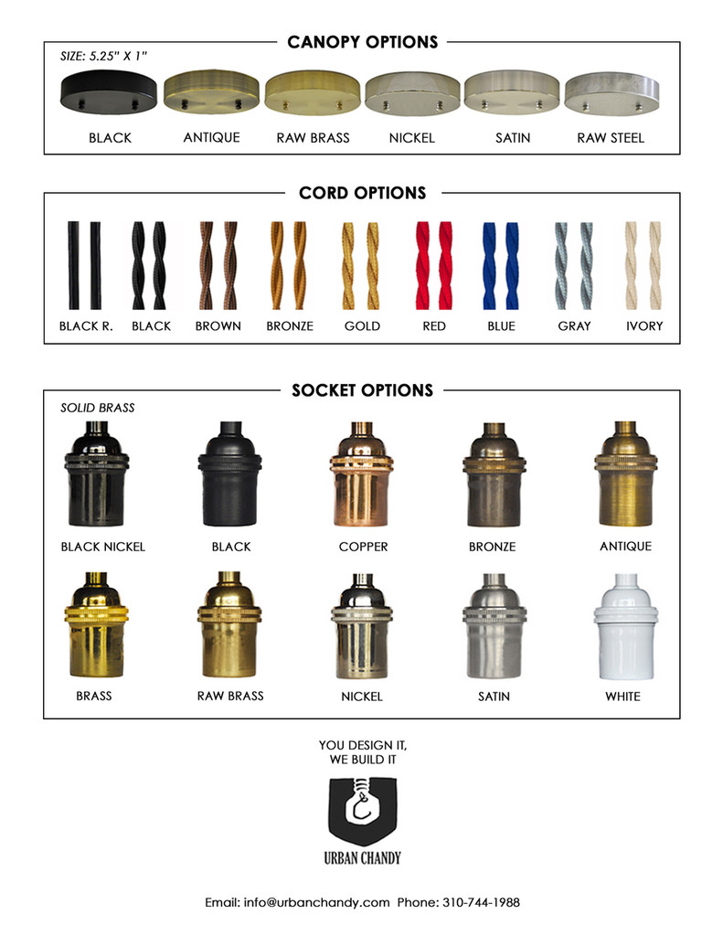 Canopy, Pendant Cord, Socket Options