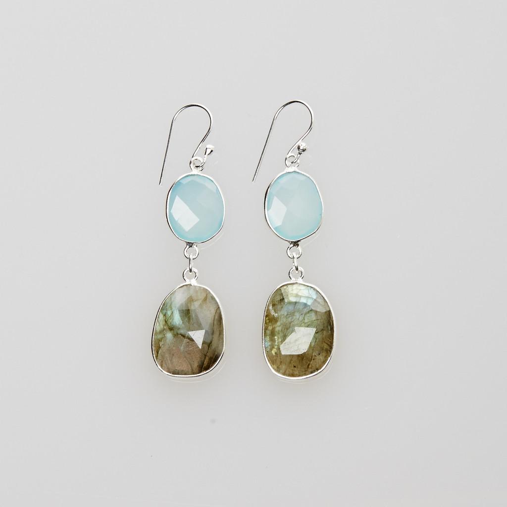 Aquamarine and Labradorite Earrings