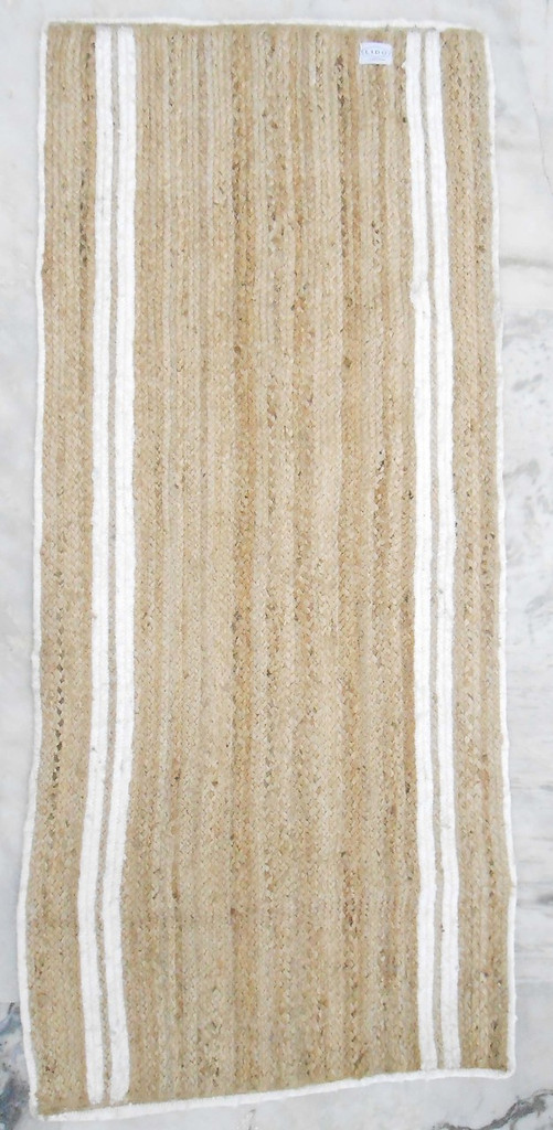 Jute Rug - Double White Stripes