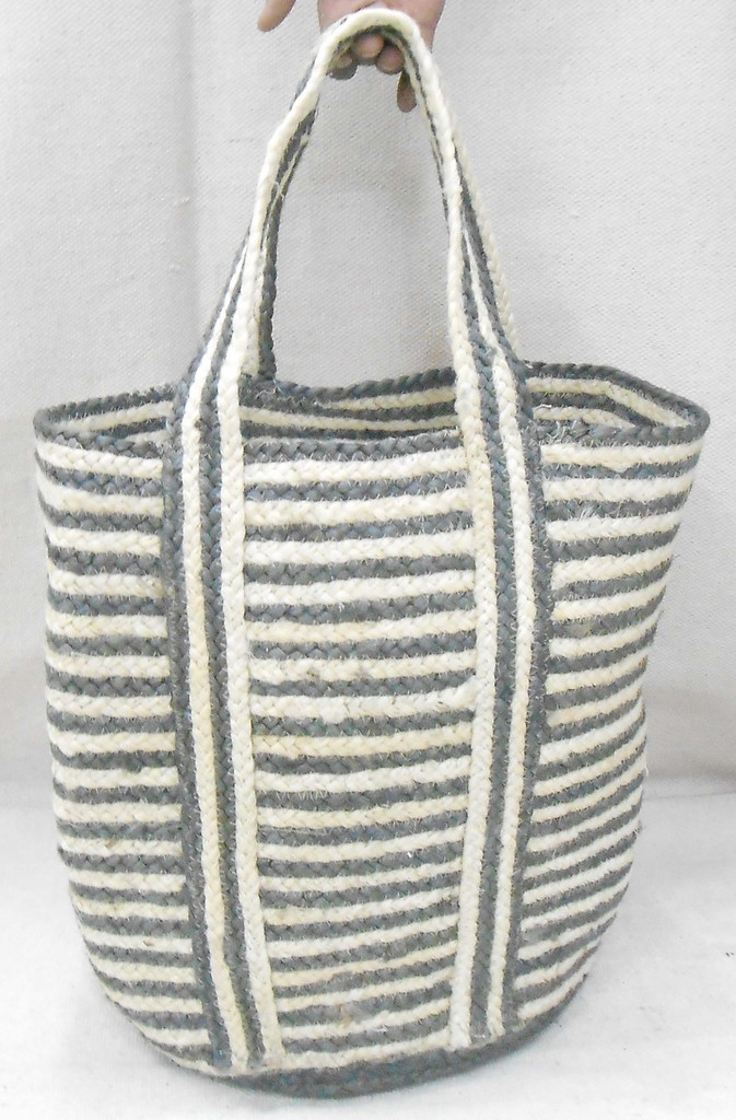 Jute bag - Natural and Charcoal Stripes