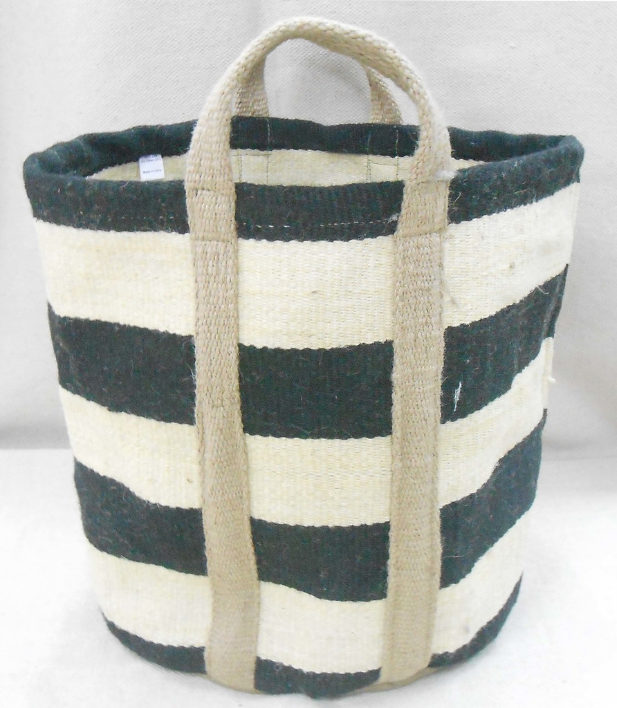 Jute Bag - Natural Thick Black Stripes