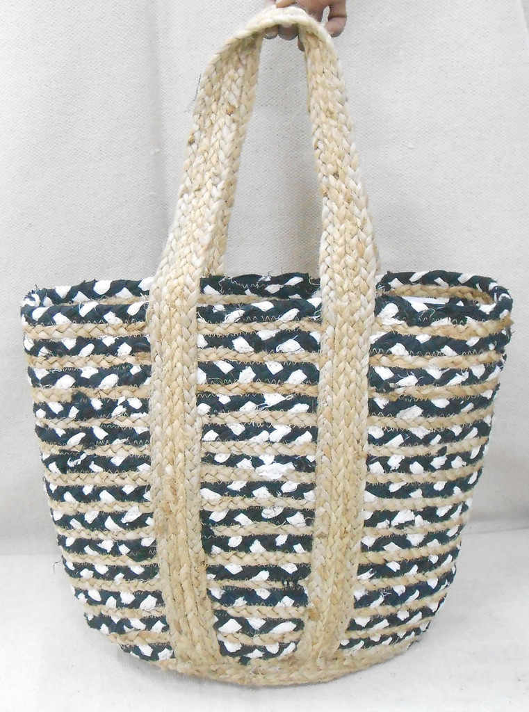 Jute Bag - Black and White Cotton
