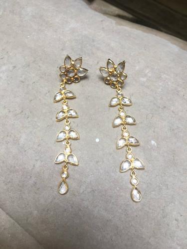 Earrings - Hanging Crystal Flower