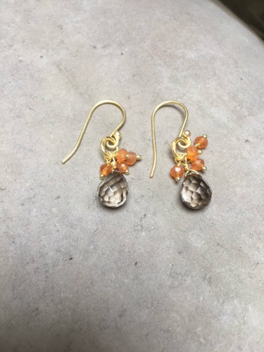 Earrings - Smoky  Quatrz and Carnelian.