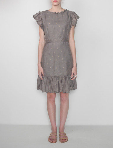Bari Dress - Charcoal and Gold