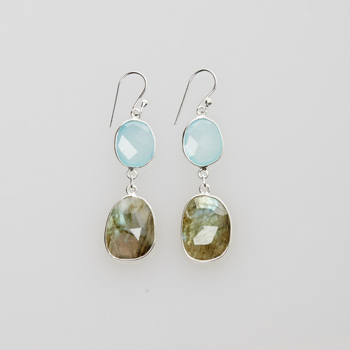 Aquamarine and Labradorite Earrings