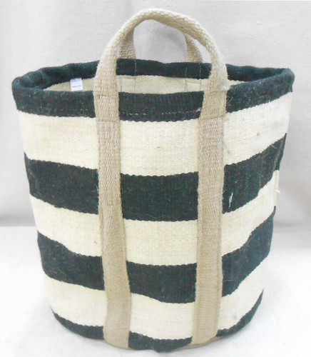 Jute Bag - Natural Thick Black Stripes
