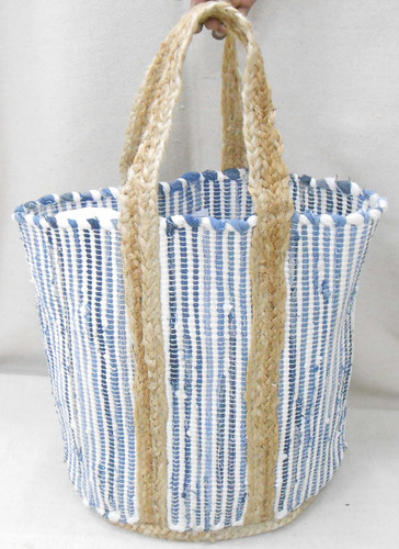Jute Bag - Denim and White