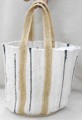 Jute Bag - White with Black Lines