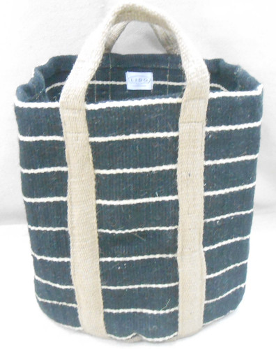Jute Bag - Black, Thin Stripes