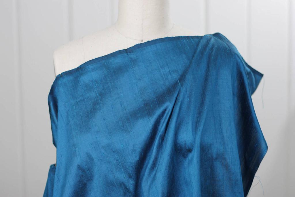 Peacock Blue Silk Dupioni