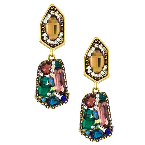 Jeweled Metallic Runway Earring
