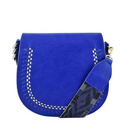 Blue Vegan Saddlebag w/ Pattern Guitar Strap