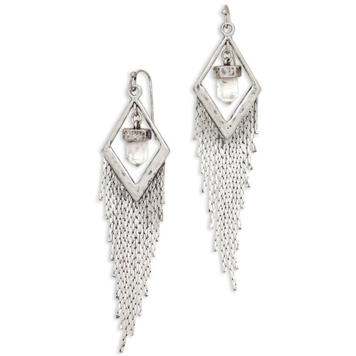 Tribe's Mystical Crystal Chain Dangle Antiqued Silver Earrings