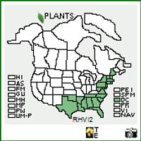 R. viscosum native range map