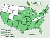 USDA plant Database Range Map for Gaillardia pulchella