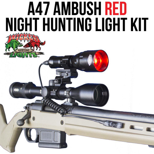 WICKED LIGHTS A47 AMBUSH RED NIGHT HUNTING LIGHT KIT FOR COYOTES, FOXES, BOBCATS, AND HOGS