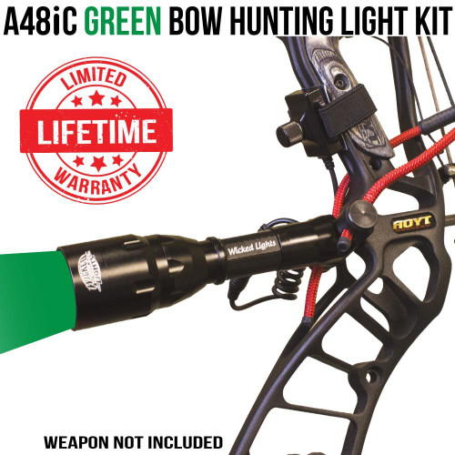 Wicked Lights A48iC Green Bow Hunting Light Kit for Bow Fishing and Night Hunting Hogs, Coyotes, and Predators