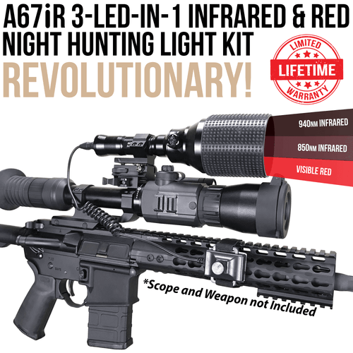 Wicked Lights A67iR 3-LED-In-1 Infrared & Red Night Hunting Light Kit for Night Vision