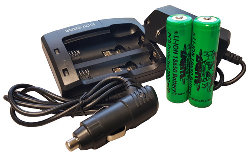 WICKED LIGHTS™ 2-POSITION CHARGER AND 2 PACK LITHIUM ION 18650 2900 MAH RECHARGEABLE BATTERIES