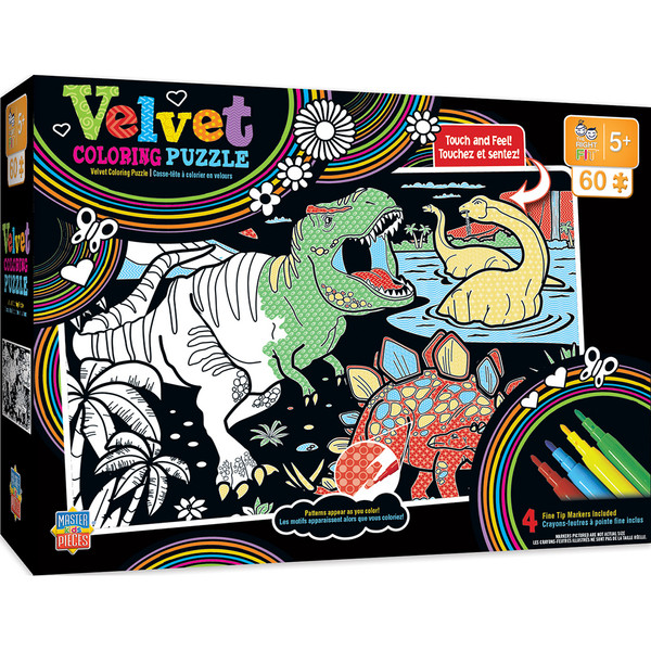Velvet Coloring Right Fit - Dinosaurs 60 Piece Jigsaw Puzzle