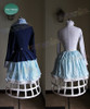 back view of coat and blouse with optional item half birdcage petticoat ($56.00)
