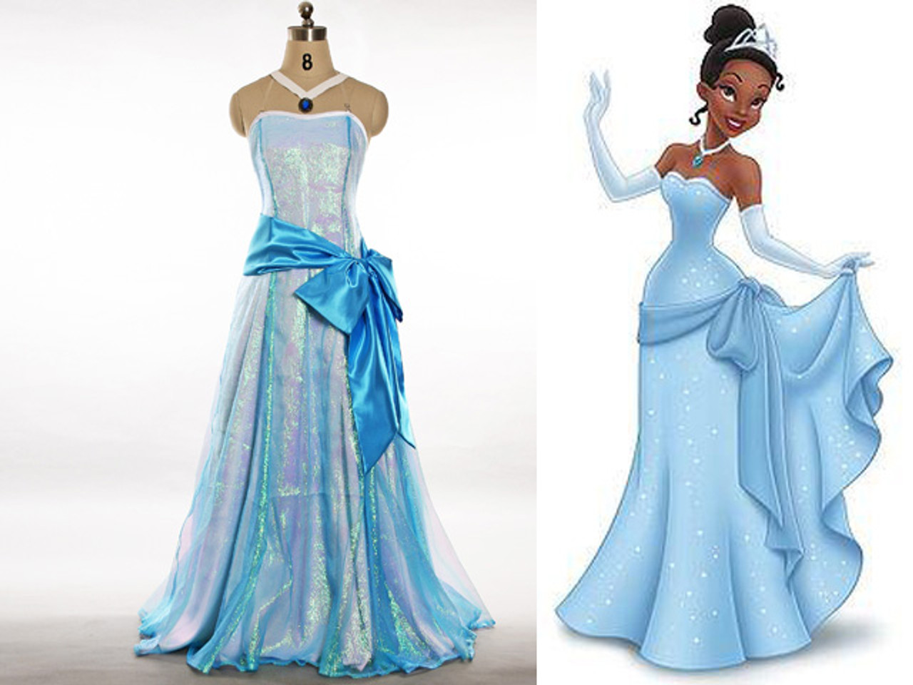 Disney The Princess and The Frog Cosplay Tiana Dress Set
