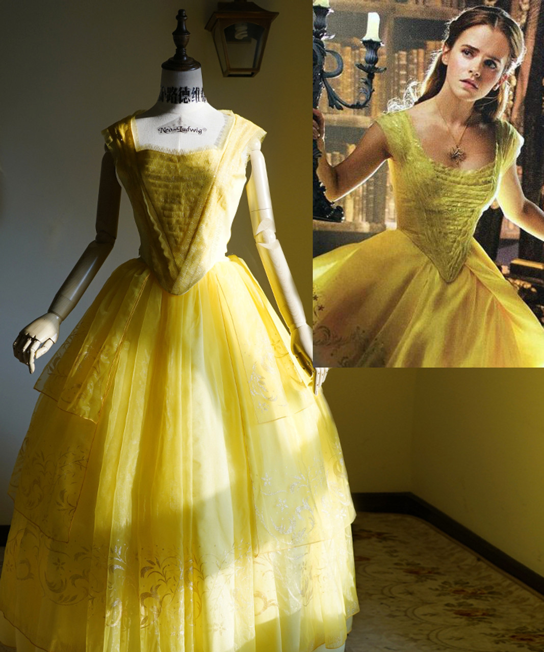 Beauty and the Beast 2017 Movie Cosplay, Belle Yellow Ball Dress ...