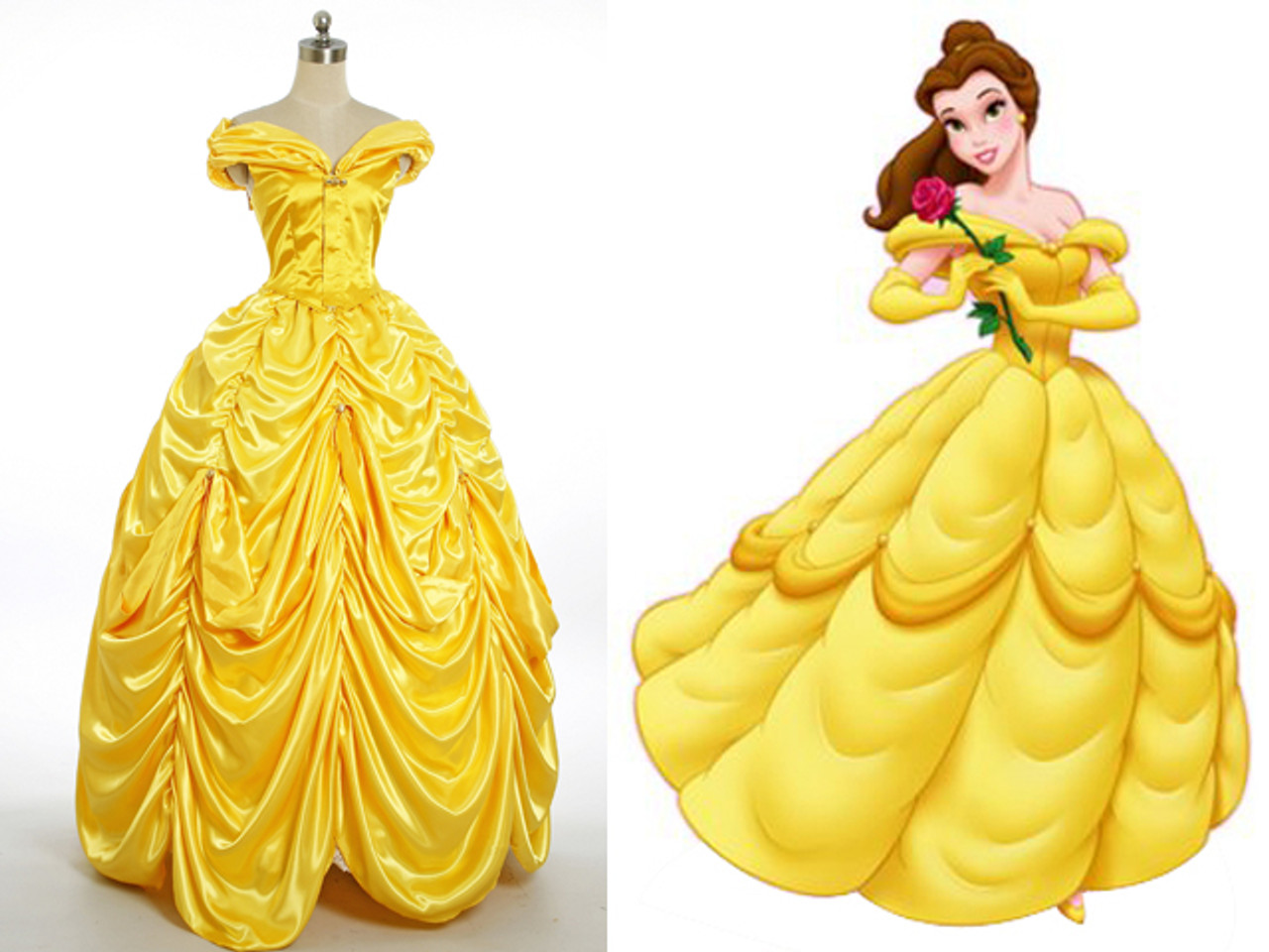 Disney Beauty and the Beast Cosplay Belle Costume Yellow Ball Gown ...