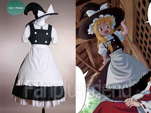 Touhou Project, Perfect Memento in Strict Sense Cosplay, Marisa Kirisame Witch Outfit Set