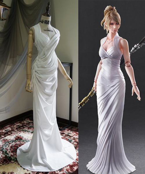 Final Fantasy XV (Game) Cosplay, Lunafreya Nox Fleuret White Maxi Dress Costume