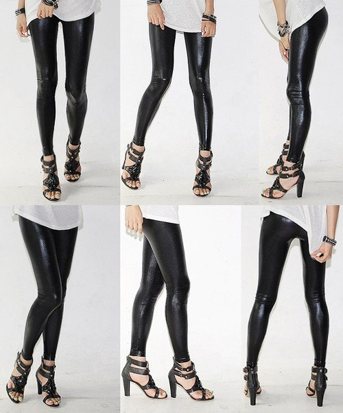 Gothic Punk Imitated Leather Black Leggings Tights Pants