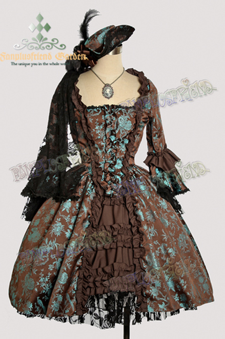 Victorian Rococo Lolita Brocade Square Neckline Ball Dress*Brocade Knee Length