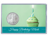 Birthday Silver Eagle Acrylic Display - Green Cupcake - customized