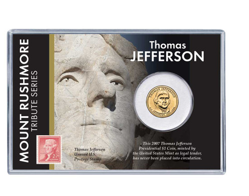 Mt. Rushmore Series: Thomas Jefferson Dollar Coin and Stamp Set