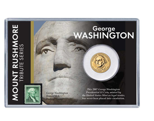 Mt. Rushmore Series: George Washington Dollar Coin and Stamp Set