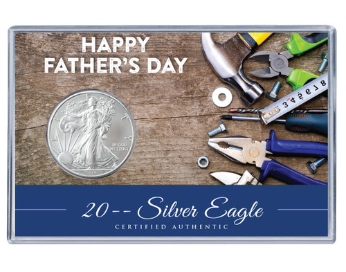 Father's Day Silver Eagle Acrylic Display - Tools Theme
